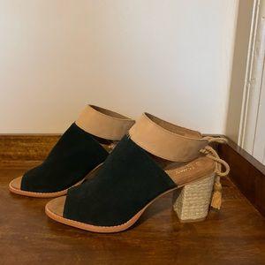 NWT TOMS Seville Peep Toe Suede Sandal - 7.5